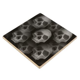 Gothic style evil fanged skulls Halloween custom Wood Coaster