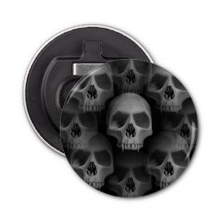 Gothic style evil fanged skulls Halloween custom Button Bottle Opener
