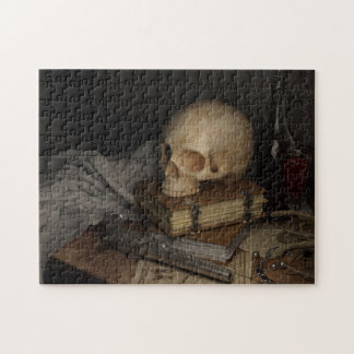 Gothic Style Still Life with Skull Puzzle