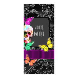 Gothic sugar skull wedding 10 cm x 24 cm invitation card