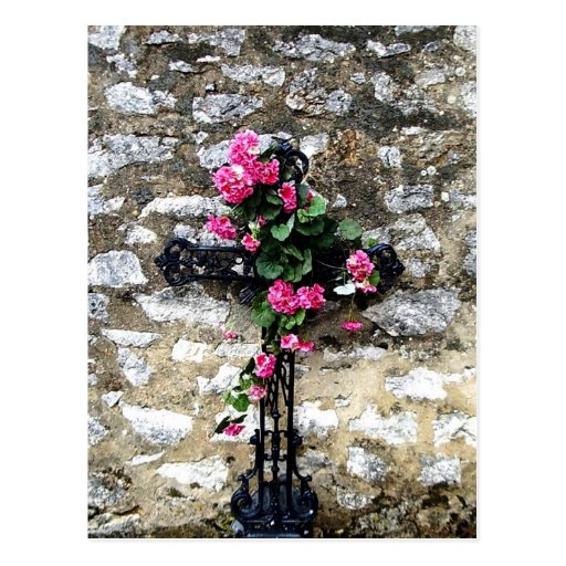 Gothic  sweet cemetery cross with flowers postcard