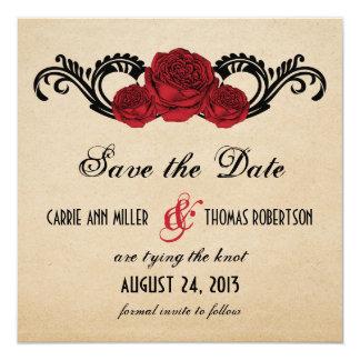 Gothic Swirl Roses Save the Date Invite, Red 13 Cm X 13 Cm Square Invitation Card