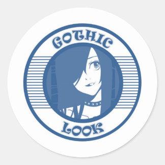 GOTHIC  T-SHIRT BLUE ROUND STICKER