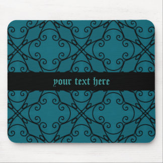 Gothic teal and black kaleidoscope to personalize mouse pad