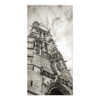 Gothic tower against the sky card