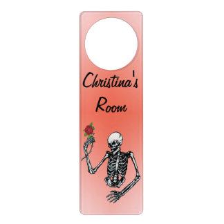 Gothic Type Skeleton Holding Long Stem Red Rose Door Hanger