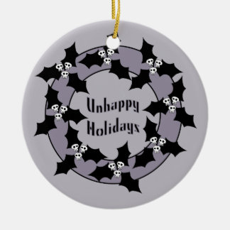 Gothic Unhappy Holidays Wreath Ceramic Ornament