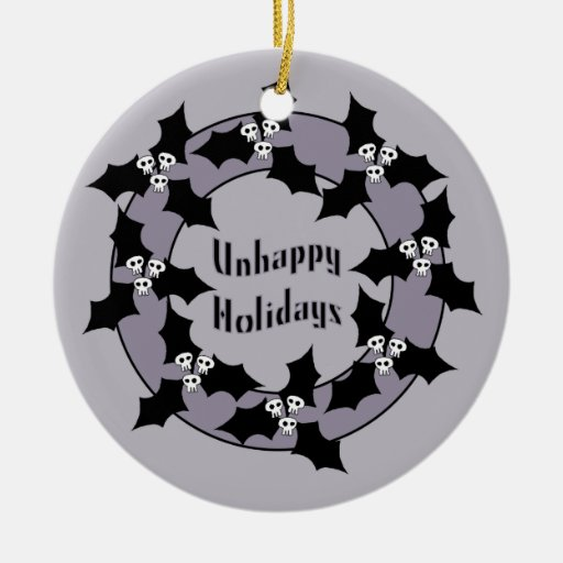 Gothic Unhappy Holidays Wreath Christmas Ornament