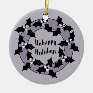 Gothic Unhappy Holidays Wreath Round Ceramic Decoration