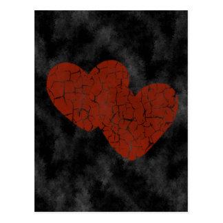 Gothic Valentine Broken Hearts Postcard