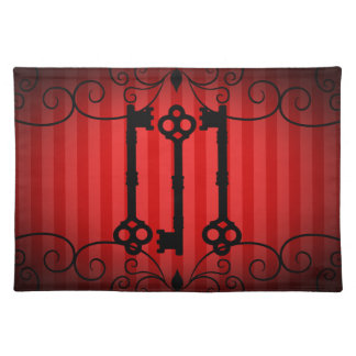 Gothic victorian old keys on red stripes placemat