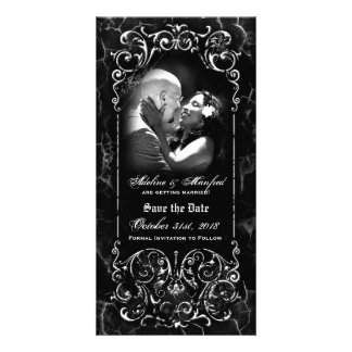 Gothic Victorian Spooky Custom Save the Date Photo Greeting Card