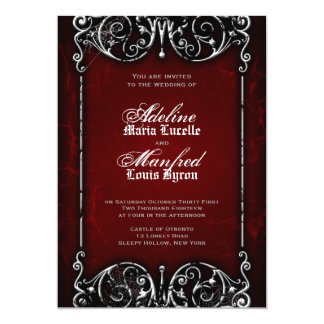 Gothic Victorian Spooky Red, Black & White Wedding Card