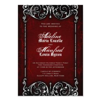 Gothic Victorian Spooky Red, Black & White Wedding 13 Cm X 18 Cm Invitation Card