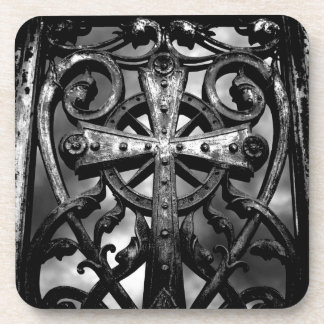 Gothic victorian wrought iron celtic cross beverage coasters