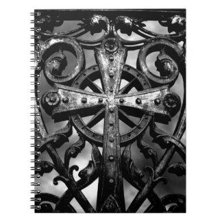 Gothic victorian wrought iron celtic cross spiral notebook