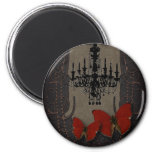 Gothic Vintage Black Chandelier Red Butterfly 6 Cm Round Magnet