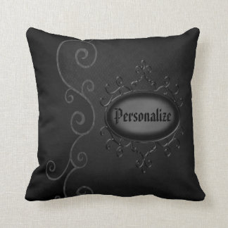 Gothic Vintage Swirls Personalized Throw Pillow