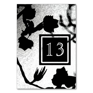 Gothic Wedding Black White Silhouette Table Cards