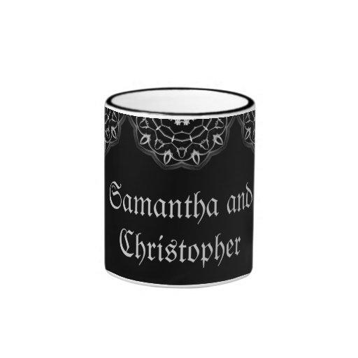 Gothic wedding elegant save the date name mug