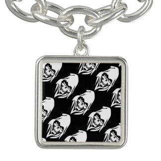 Gothic White Reaper cartoon (black background) Charm Bracelet