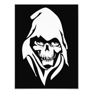 Gothic White Reaper face on black background Photo Art