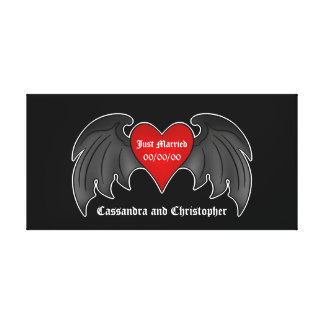 Gothic winged heart just married canvas print