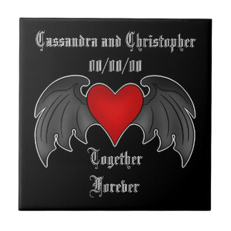 Gothic winged heart together forever small square tile