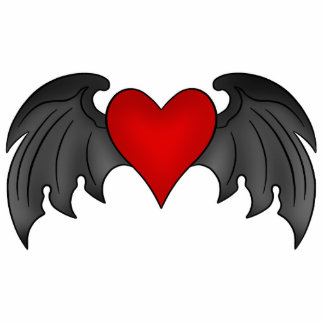 Gothic winged heart Valentines Day Photo Sculpture Magnet