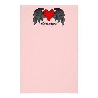 Gothic winged heart Valentines Day Customized Stationery