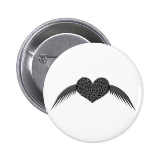 Gothic Winged Love Heart Button