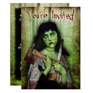 Gothic Zombie Girl Halloween Horror Card