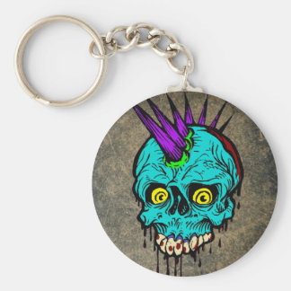 Gothic Zombie Punk Skull Basic Round Button Key Ring