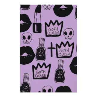 gotica queen purpura stationery