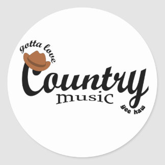 gotta love country music yeehaw round sticker