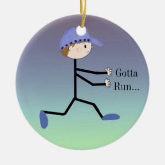 Gotta Run Male Running Figure Ceramic Ornament