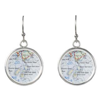 Gotts Island Map Earrings