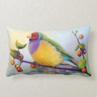 Gouldian finch realistic painting lumbar cushion