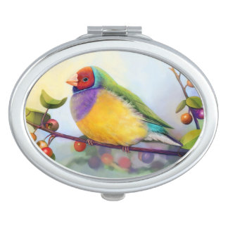 Gouldian finch realistic painting travel mirror