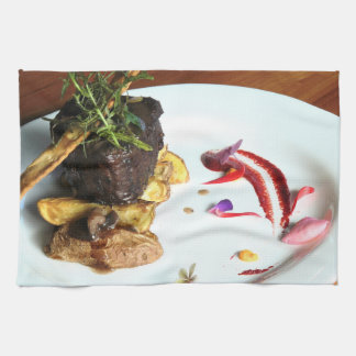 Gourmet Food Dish with Steak Tea Towel