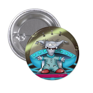 GOUZOUILLE CUTE ALIEN Small, 1¼ Inch 3 Cm Round Badge
