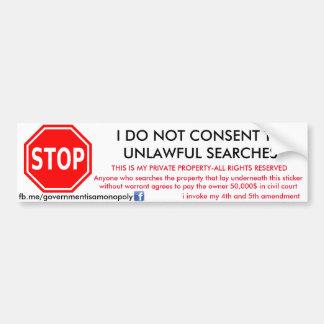 government is a monopoly search and seizure sticke bumper sticker