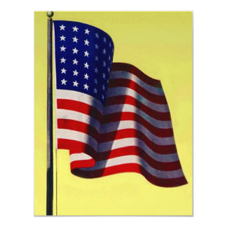 """GOVERNMENT MILITARY OLD GLORY PARTY INVITATION 4.25"""" X 5.5"""" INVITATION CARD"""