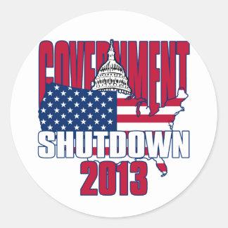 Government Shutdown 2013 Round Sticker