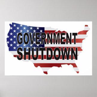 Government Shutdown Text on USA Map and Flag Poster