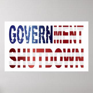 Government Shutdown Text with USA Flag Poster