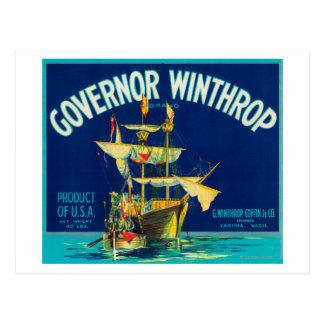 Governor Winthrop Apple Label (blue) - Yakima, W Postcard