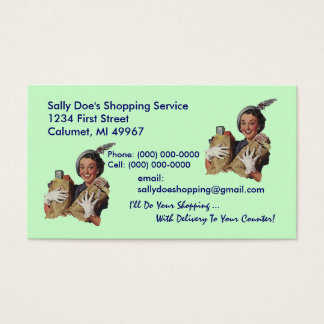 GR8 Retro Business Card Grocery Shopping Service