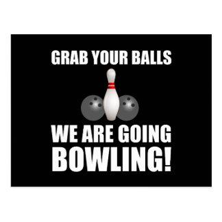 Grab Balls Going Bowling Postcard