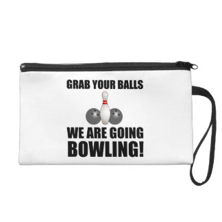 Grab Balls Going Bowling Wristlet Purses